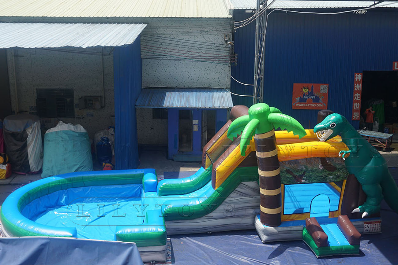inflatable d Jurassic Park bounce slide with pool