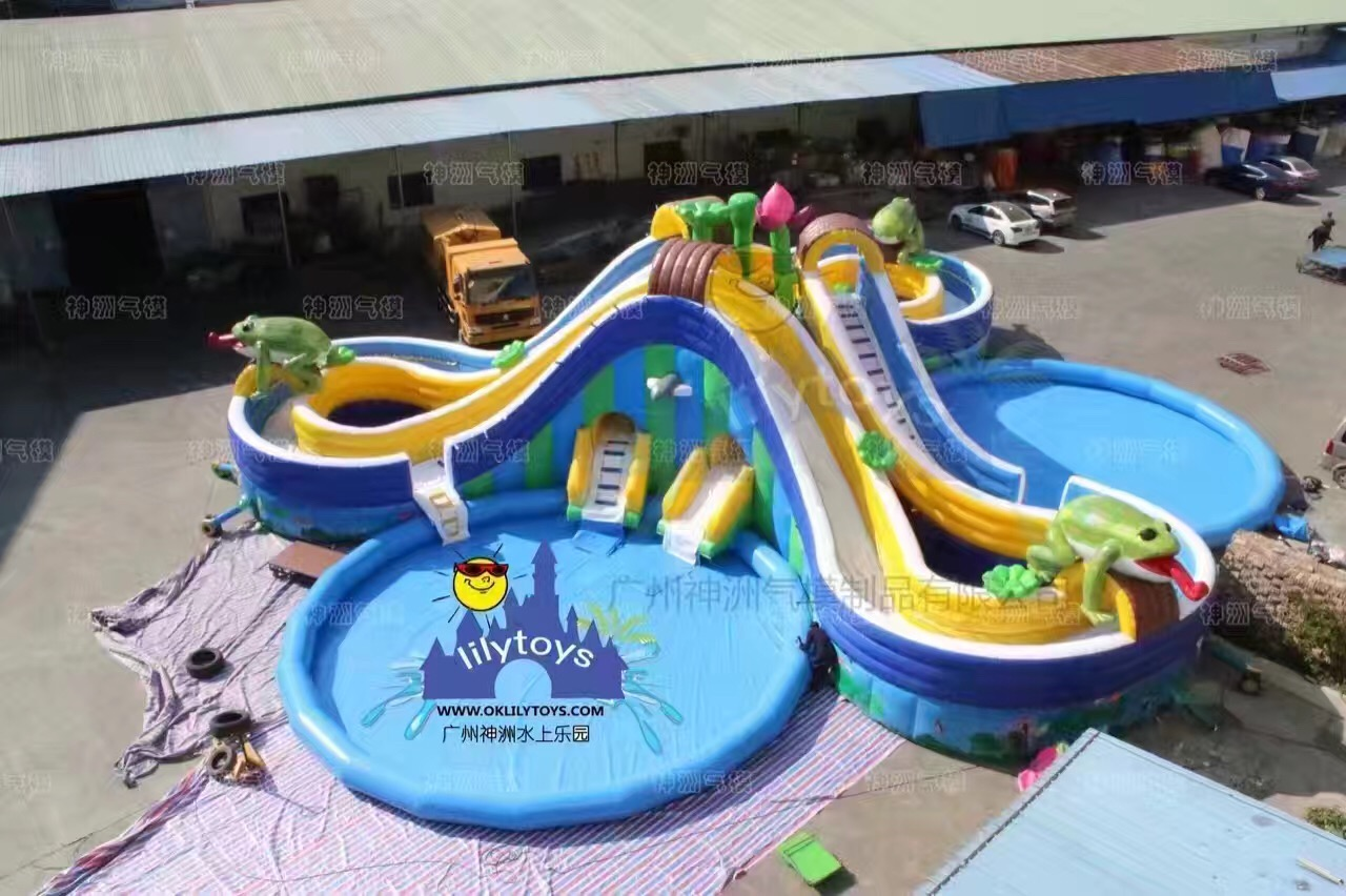 frog inflatable water park with 3 pools