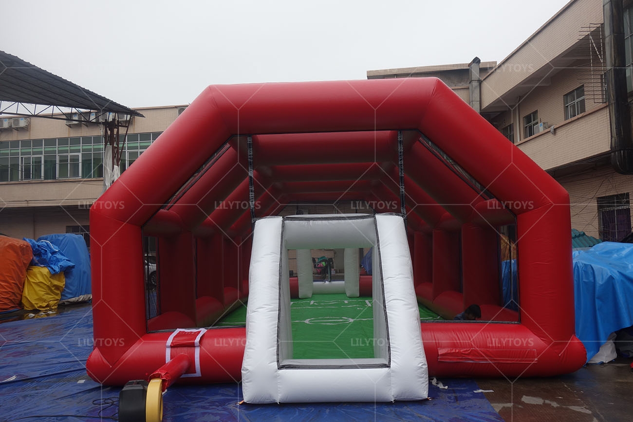 inflatbale soccer area with tent