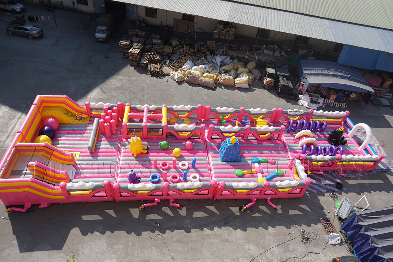 customized pink inflatable kids playground