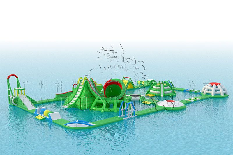Lilytoys aqua park inflatable horn big water slide for adult commercial floating sea water park passed TUV 2021 new design factory price