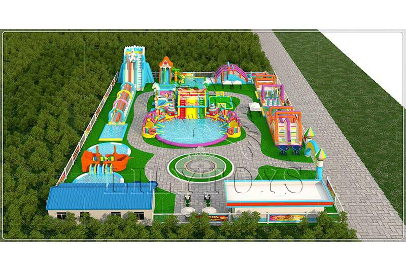 Lilytoys professional inflatable water park project customized commercial big water sldie for adult kids water play equipment with big frame pool