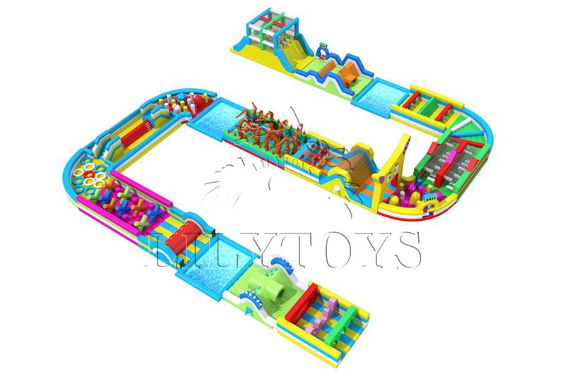 Inflatable obstacle course sport games with pool for outdoor