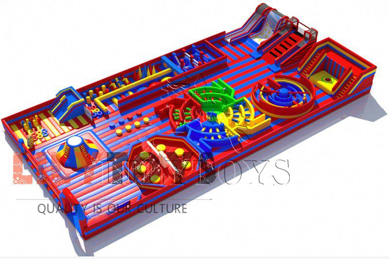 Lilytoys inflatable indoor playground theme park big jumping bouncer with sport game inflatable amusement park