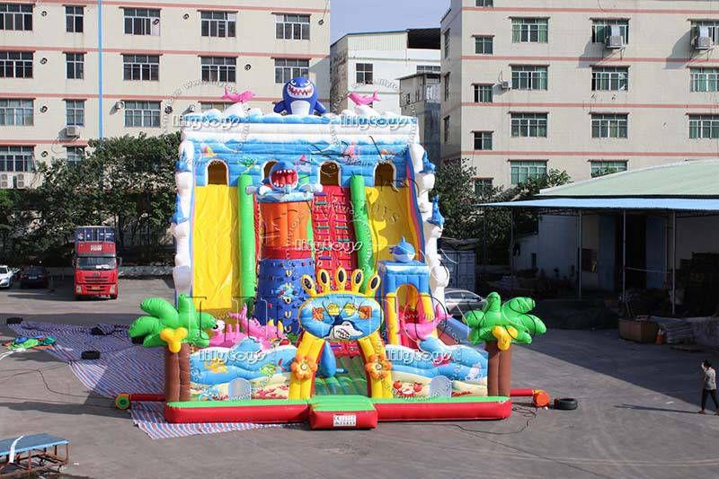 Lilytoys inflatable kids playground equipment slide infaltable children's outdoor trampoline sea wolrd theme amusement park