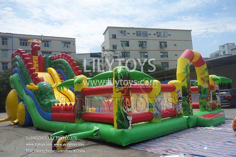 Lilytoys infatlabe amusement park playhouse  for kids trampoline jungle park bounce castle durable customized slide funcity