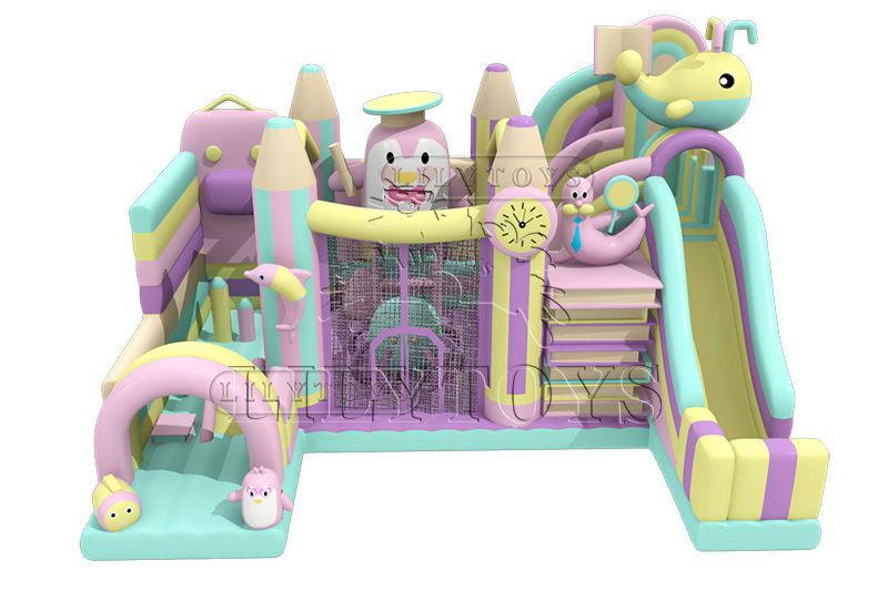 Newest attractive carnival park inflatable trampoline kids playground jumping slide for commerce