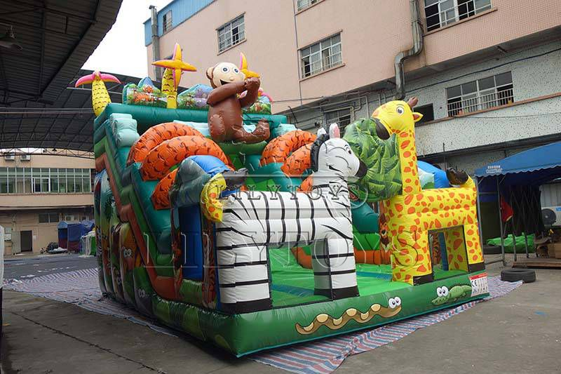 Customized animal theme inflatable dry slide party slide for kids