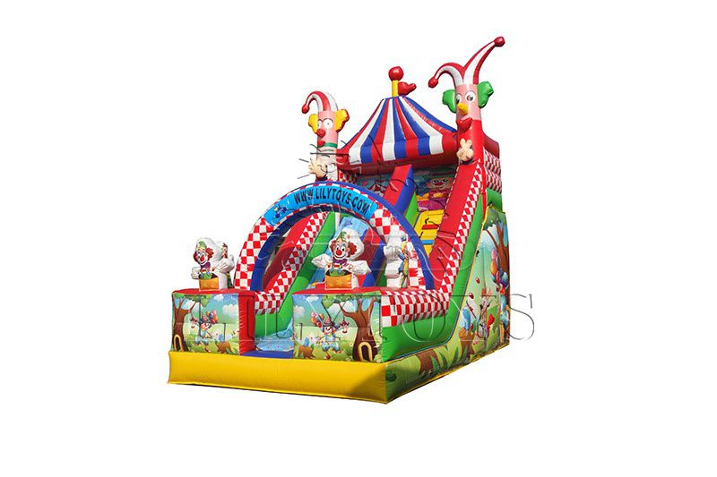 Lilytoys top selling clown theme inflatable slide for kids,  waterproof tarpaulin jumping playground