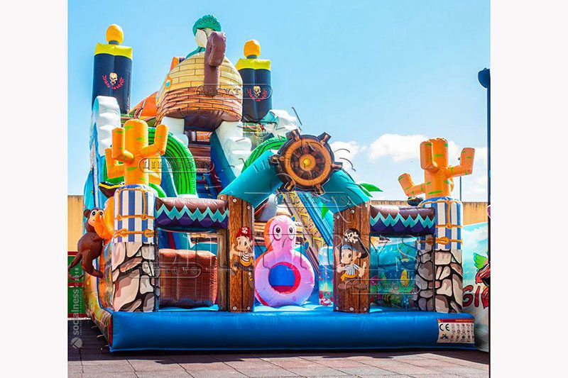 Lilytoys hot selling Customized pirate theme inflatable dry slide party slide for kids