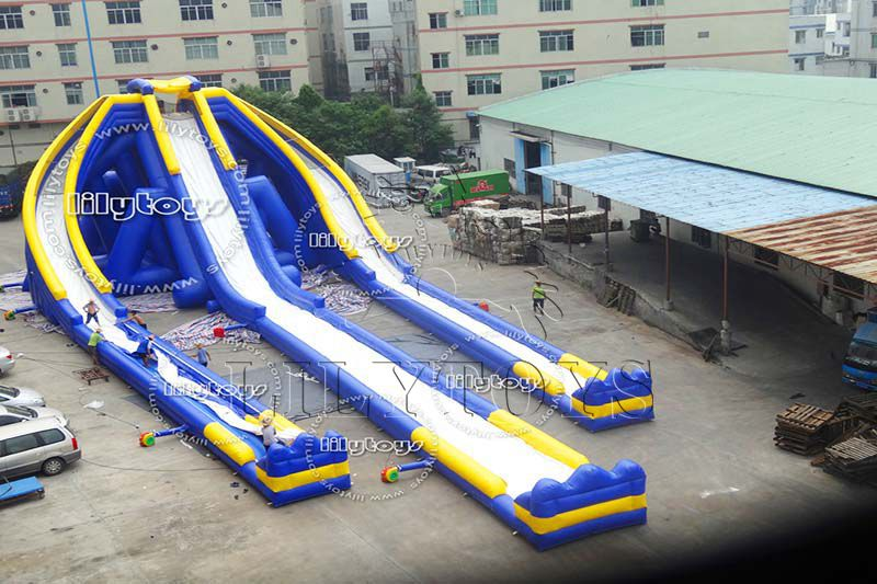 Lilytoys 3 lane inflatable giant water slide for adult, new design water park equipment with CE  high quality exciting hippo fly slide with pool