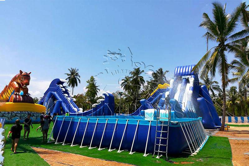 Crazy Inflatable water park water play equipment giant fly  Water Slide For Frame Swimming Pool