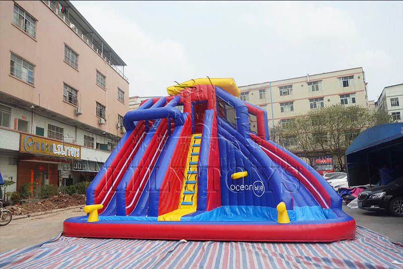 Lilytoys infaltable trampoline water slide for kids with pool water park playground equipment
