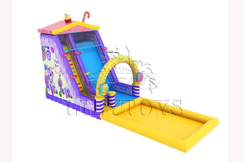 Lilytoys CE SGS inflatable water slide with pool for kids candy amusement park new design water park playground