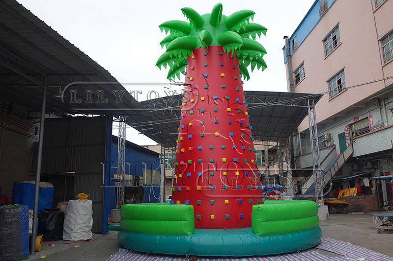 Lilytoys Giant adult inflatable interactive game climbing wall moving rock climbing wall with mattress and safety belt  for sale
