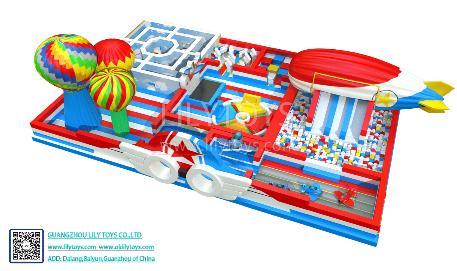 plane and sky inflatable park for indoor and outdoor