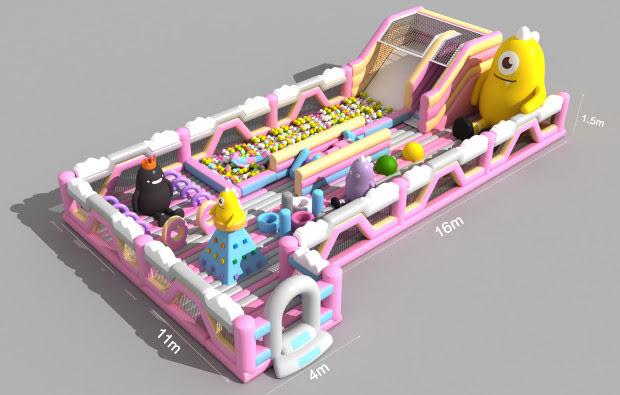 pink baby indoor park trampoline with slide