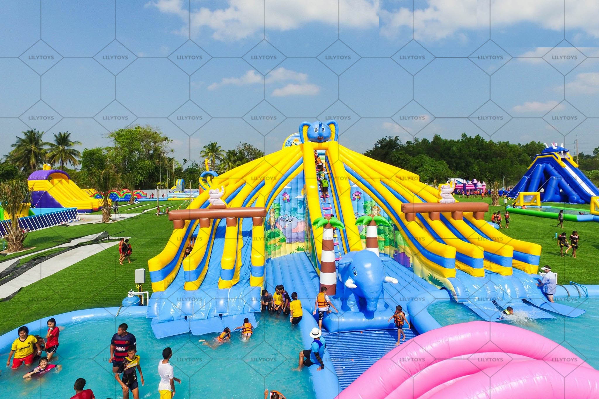 inflatable water park on the ground