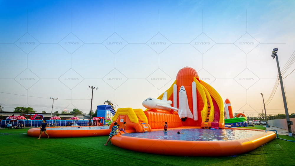 Plane station inflatable water park