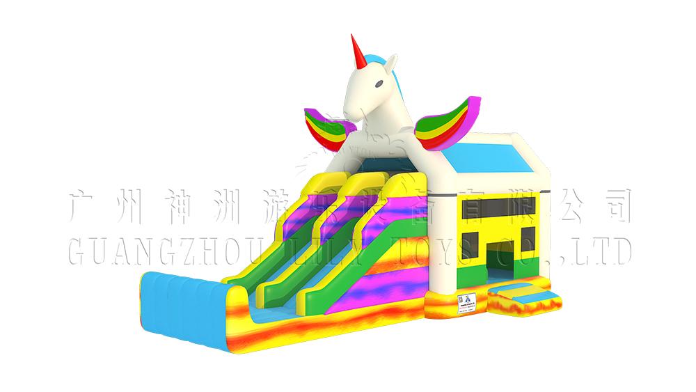 unicorn inflatable bounce slide combo