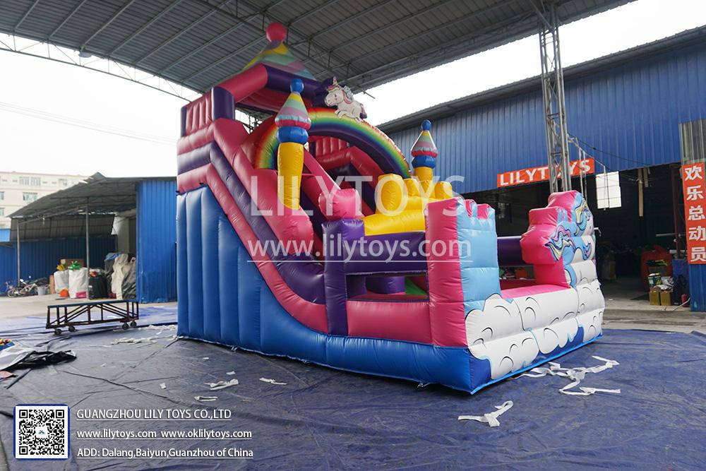 unicorn inflatable pink slide