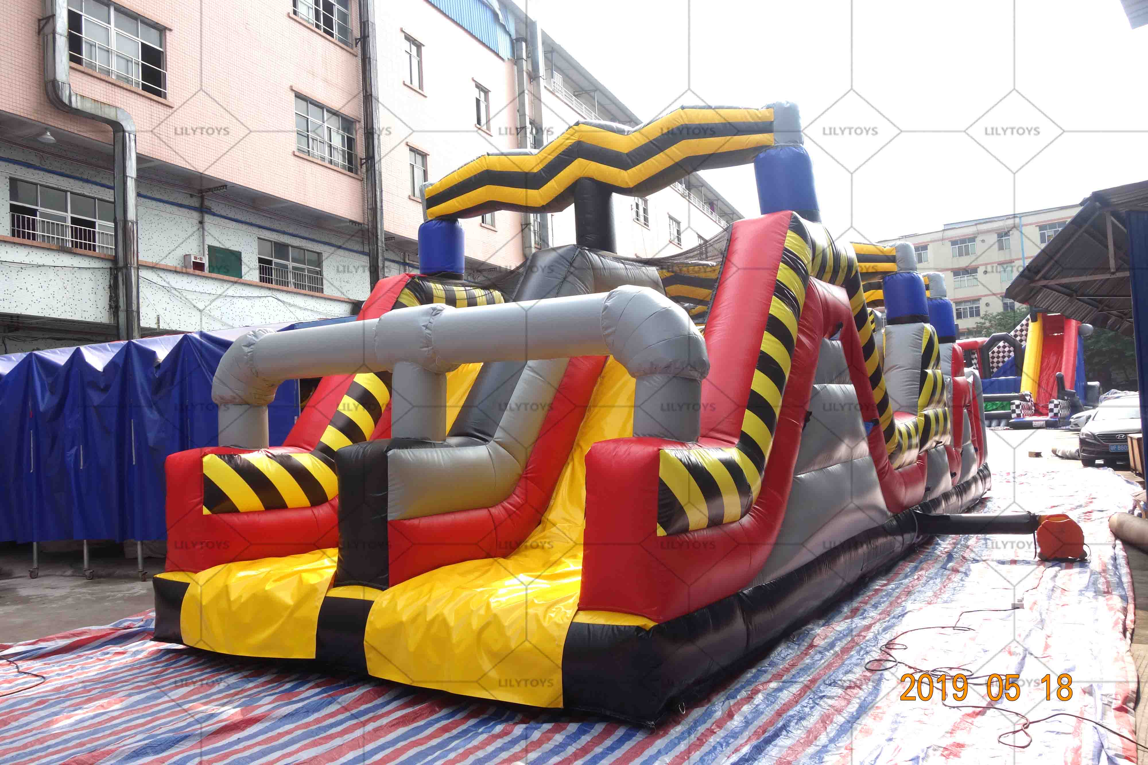 Race inflatable double obstale course