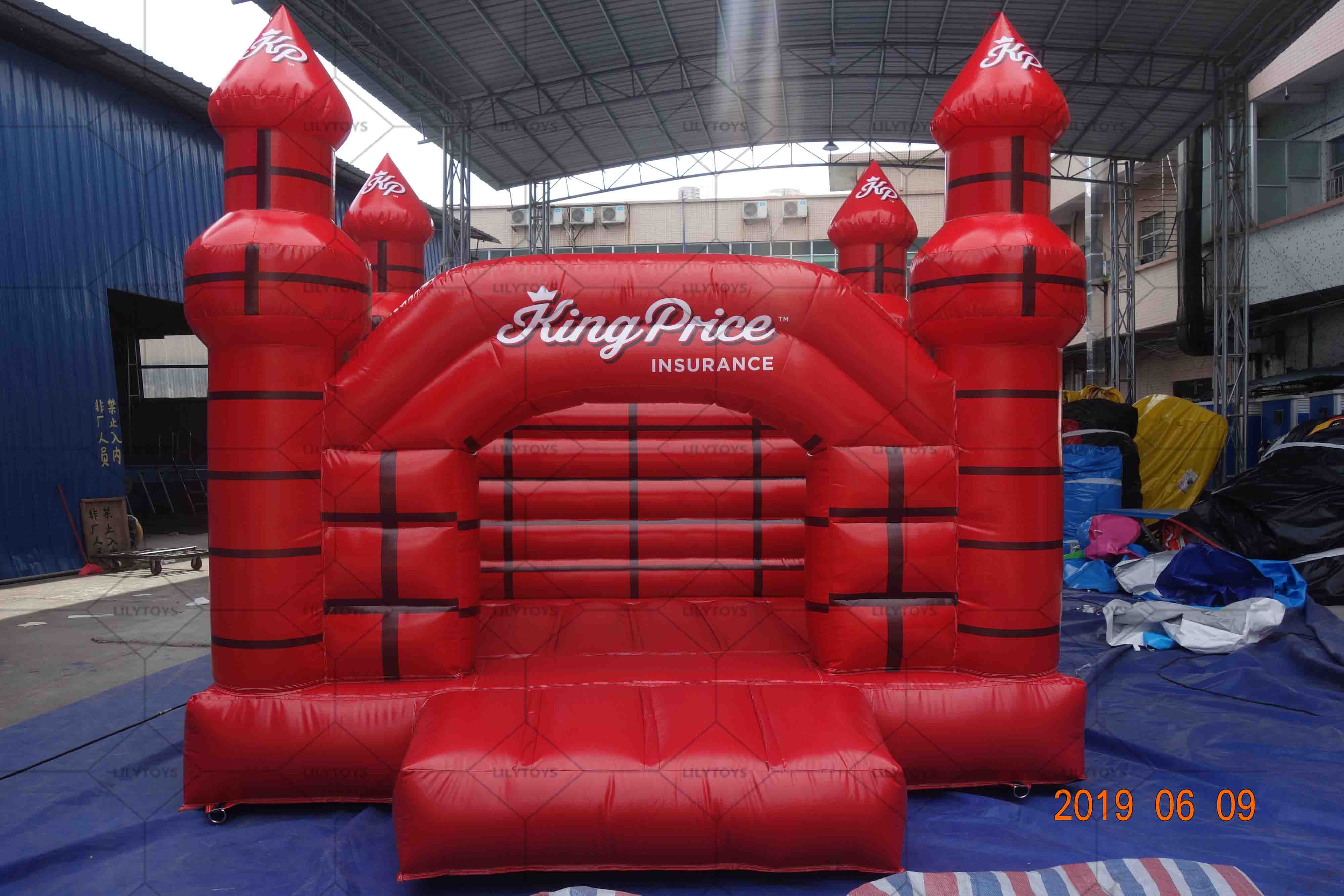 red inflatable castle bounce