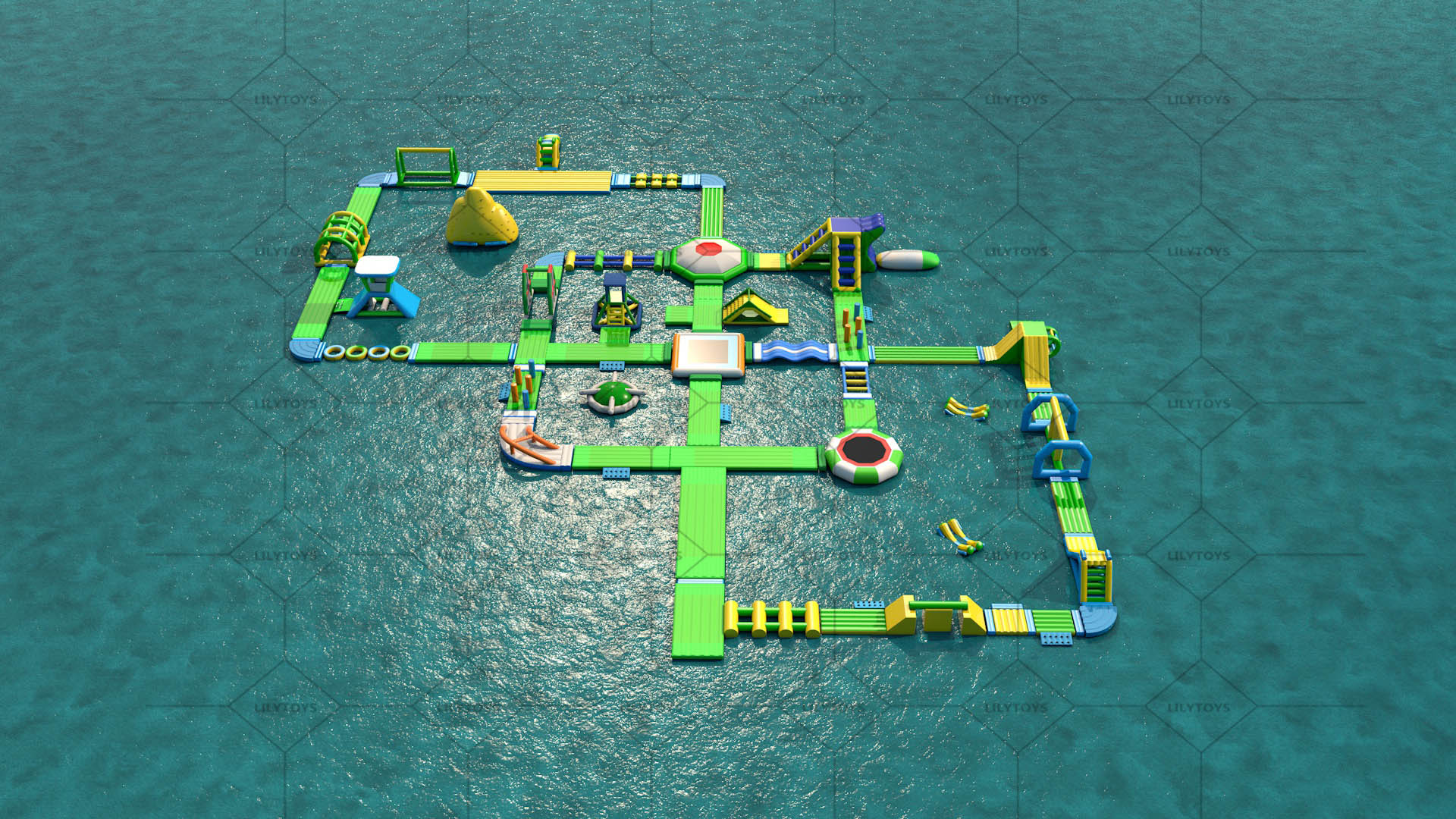 Giant inflatable water park obstacle course