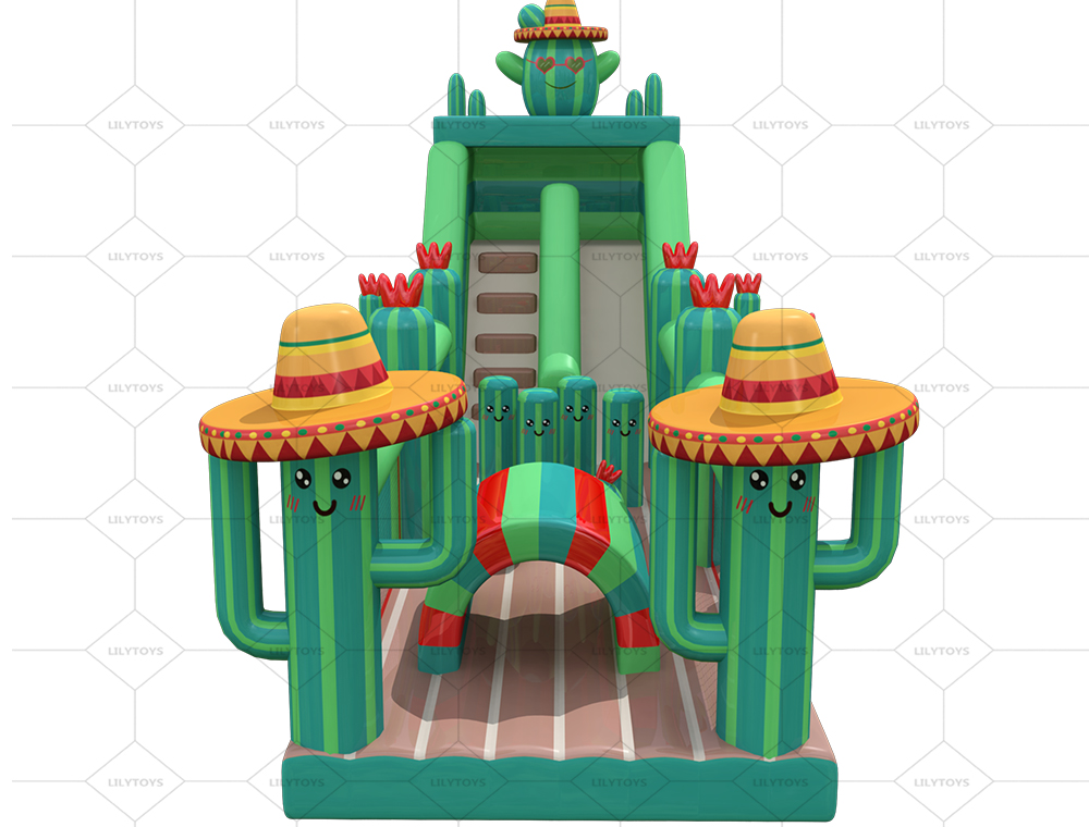 cactus inflatable obstacle course with slide
