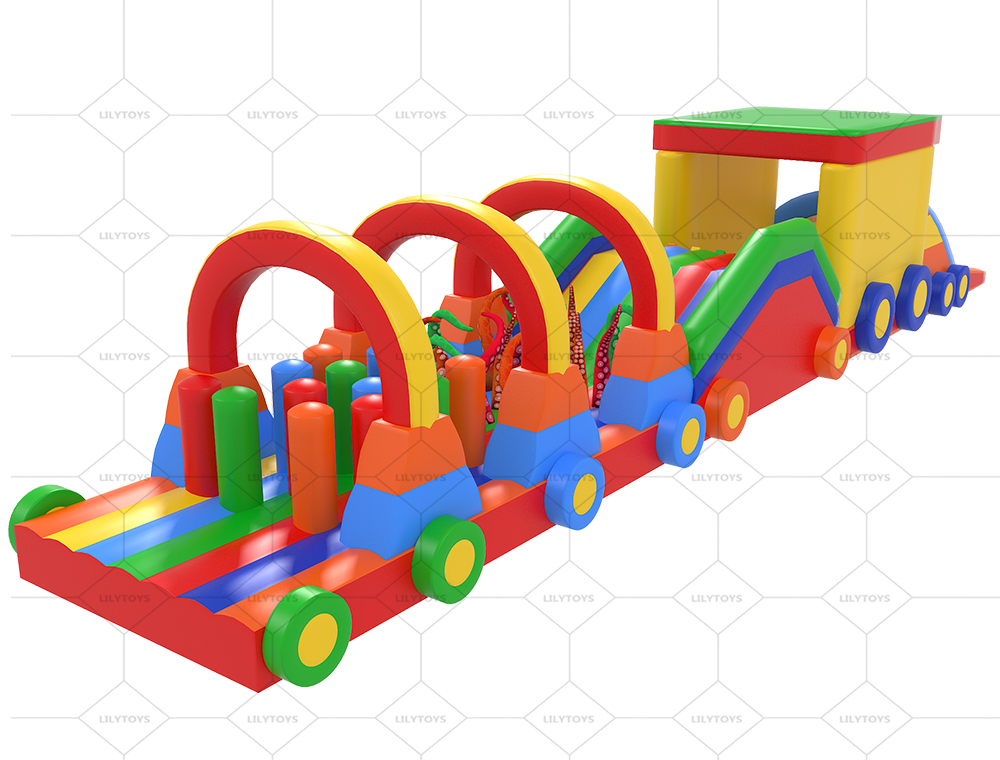 colorful train inflatable tunnel obstacle course