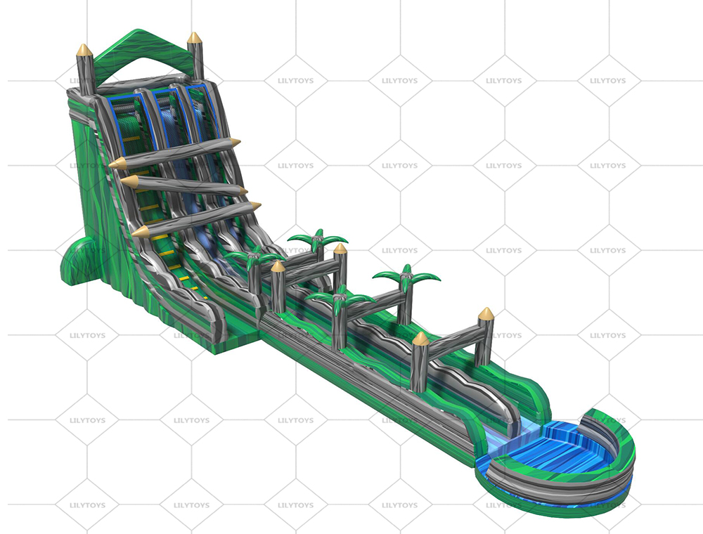 forest tree green inflatable double lane water slide