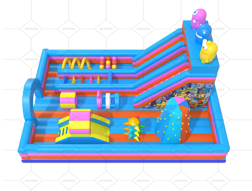 inflatable pink playground trampoline bounce