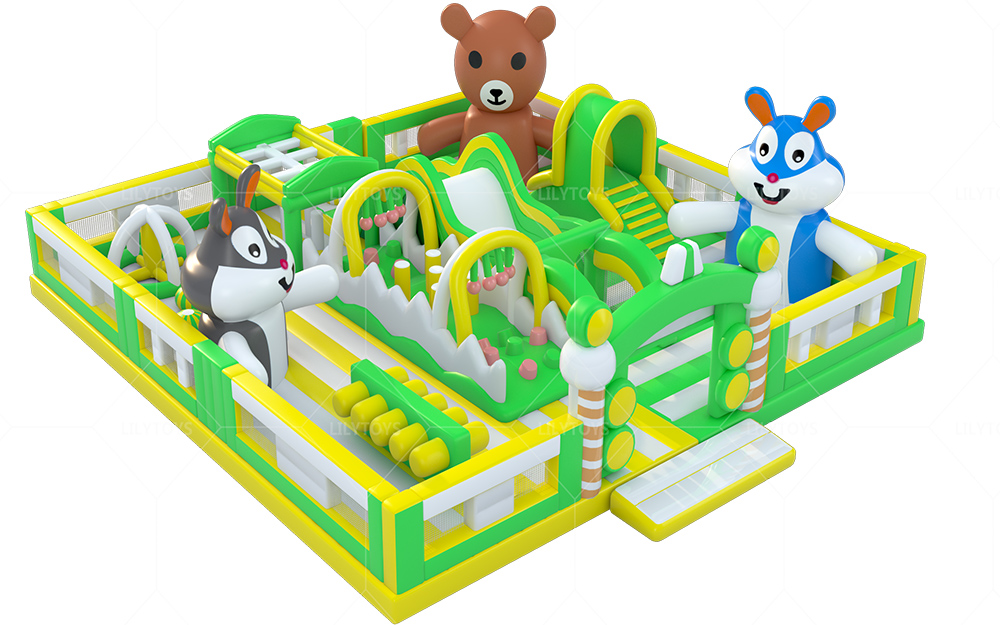 green animial inflatable playground funcity
