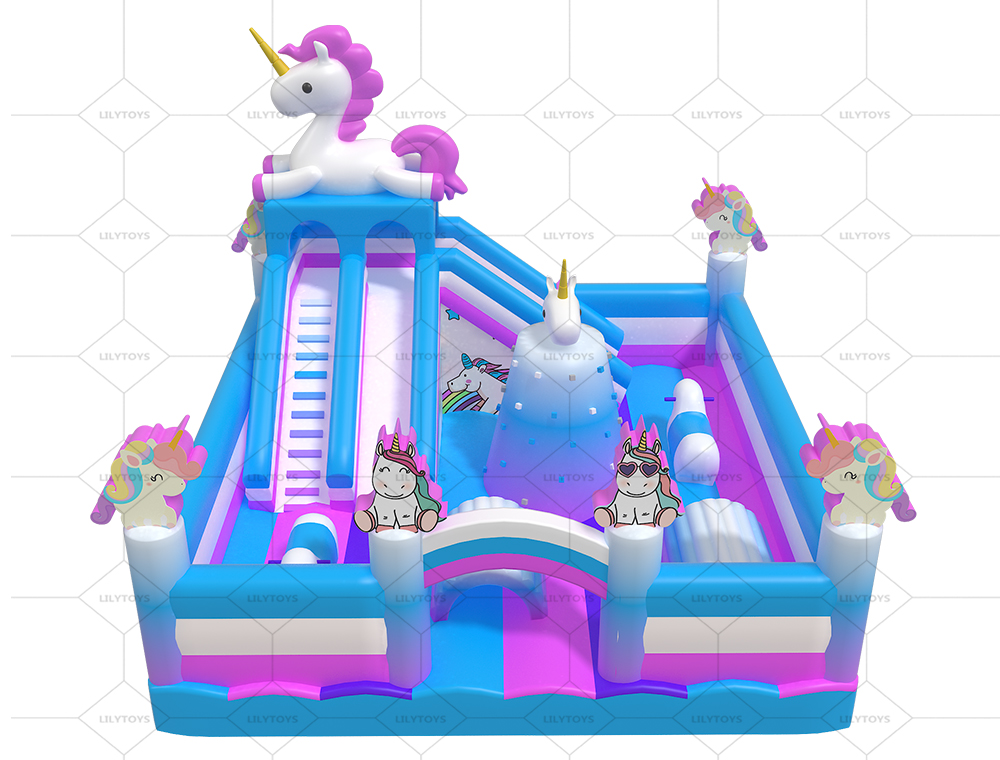 unicorn inflatable combo bounce with climbing