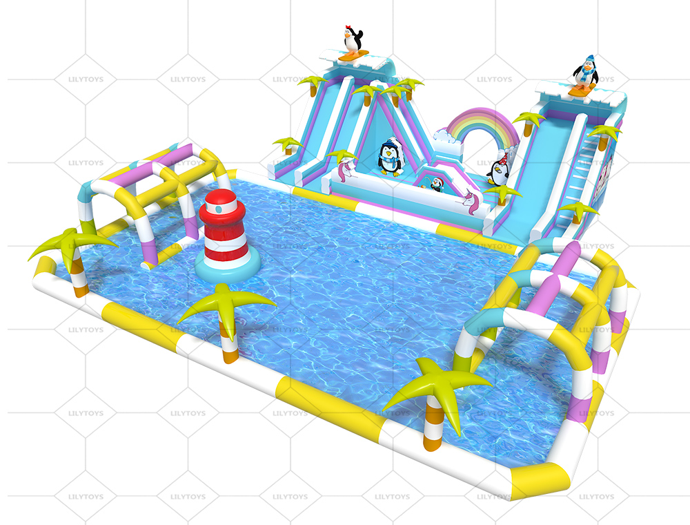 Penguins inflatable water park for kids