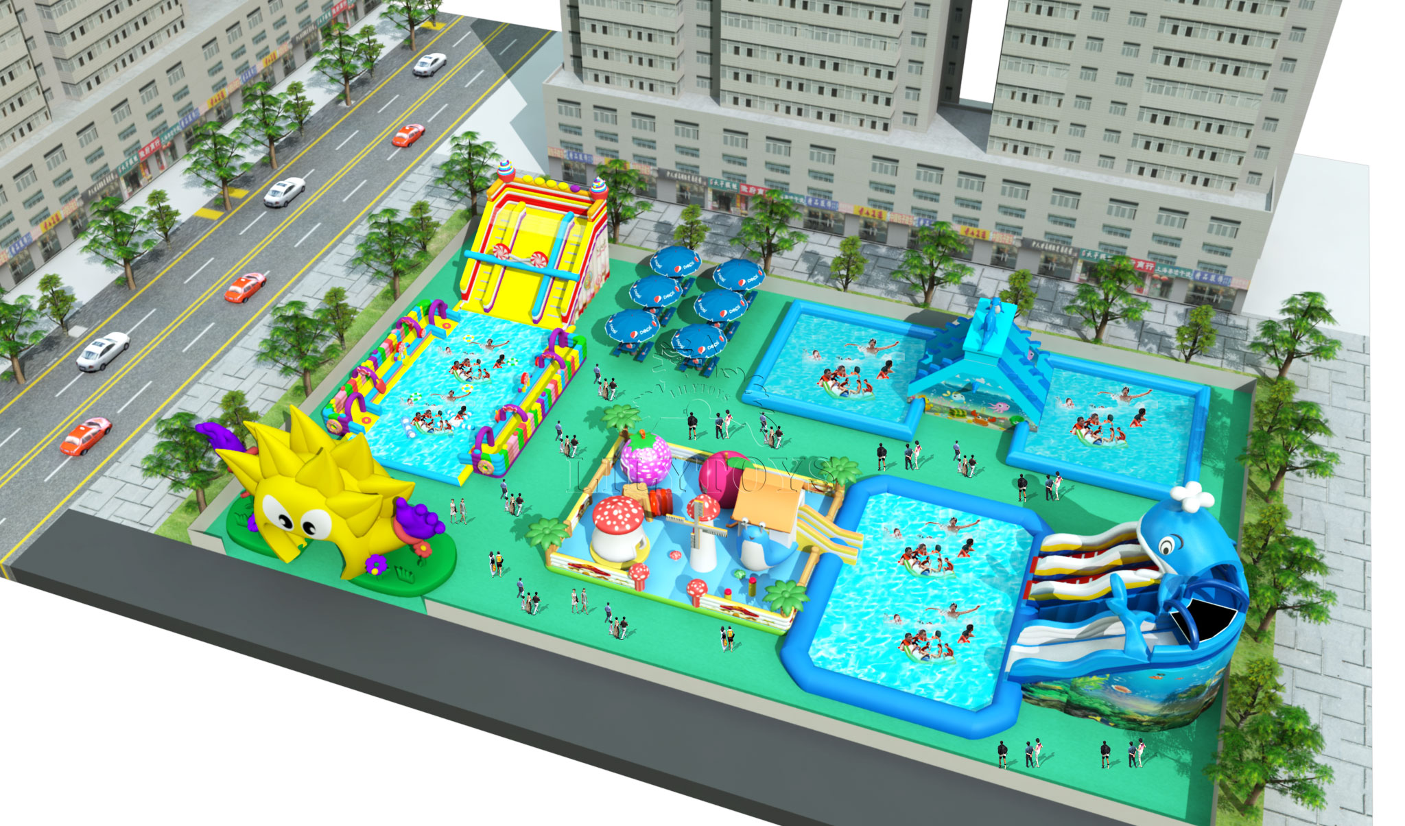 inflatable mobile water park on the ground