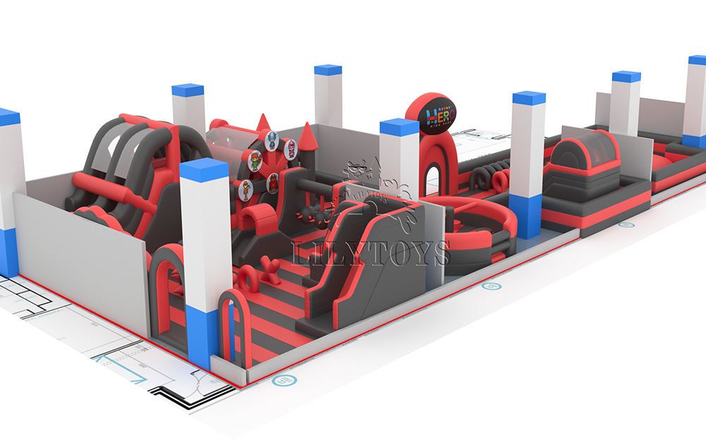 indoor carnival red and black inflatable trampoline park