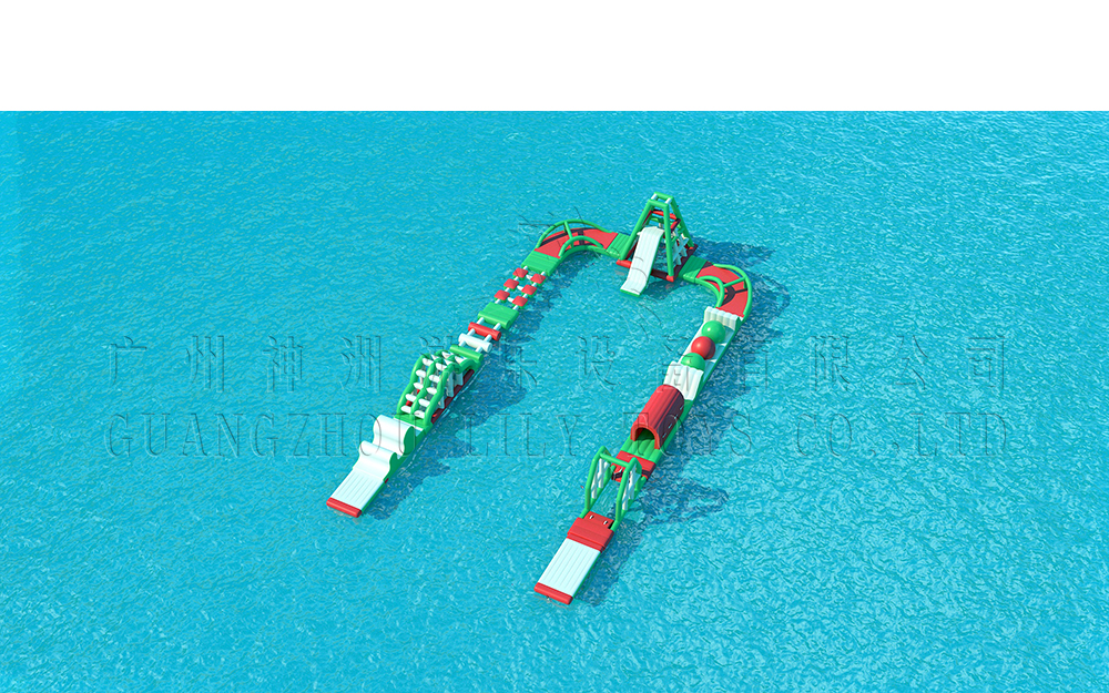 red green water park obstacle