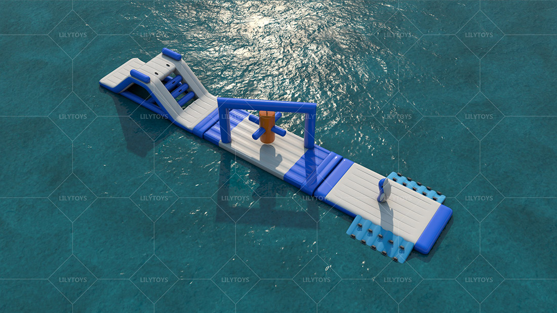 blue one lane inflatable water sports for the pool