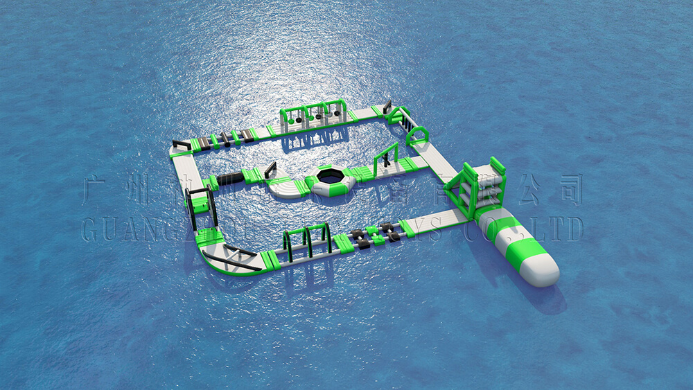 Green inflatable water park