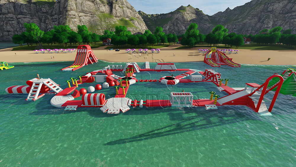 Big floating water park on the beach