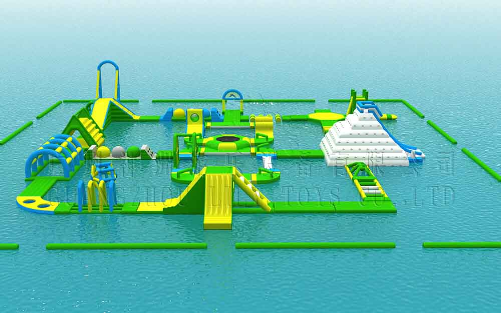 Green inflatable water park for adults