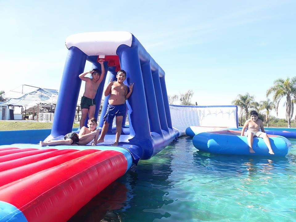 big slide with pool water park