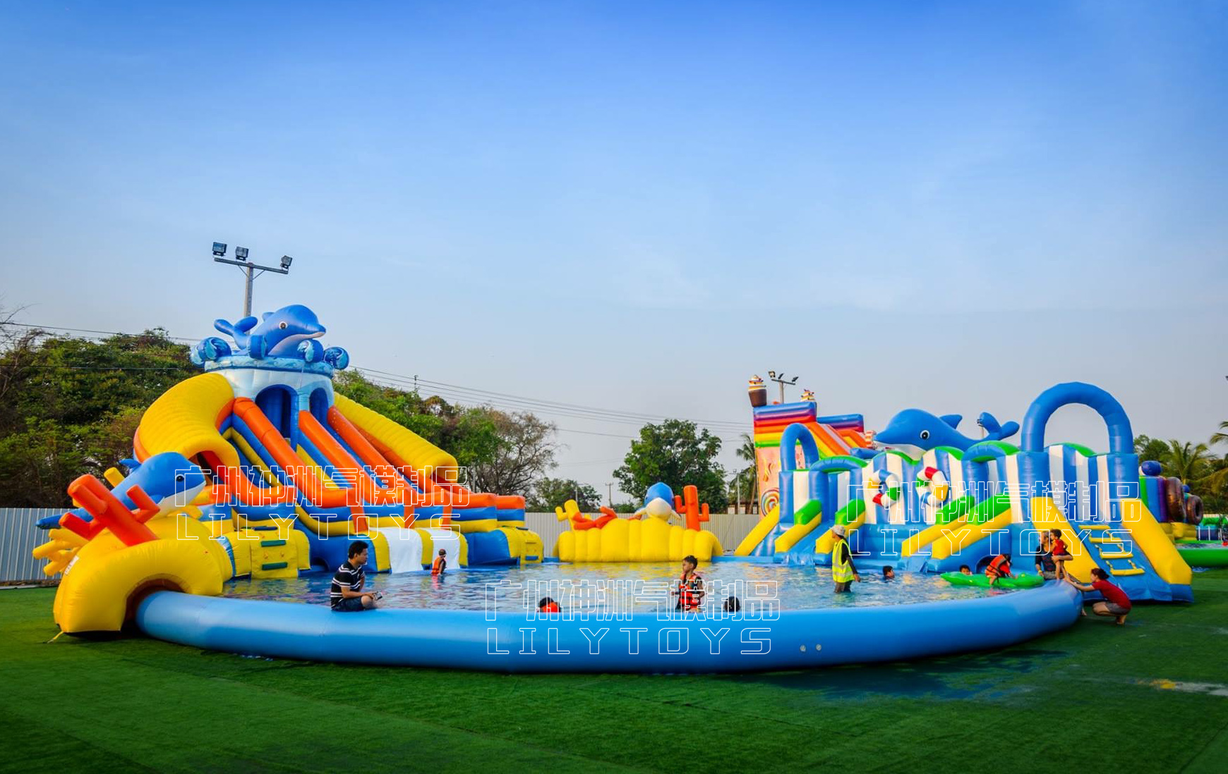 inflatable water park dophin