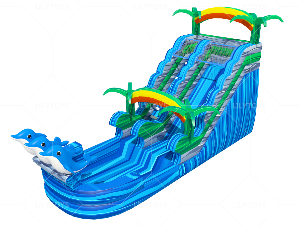 dolphin inflatable slide with pool
