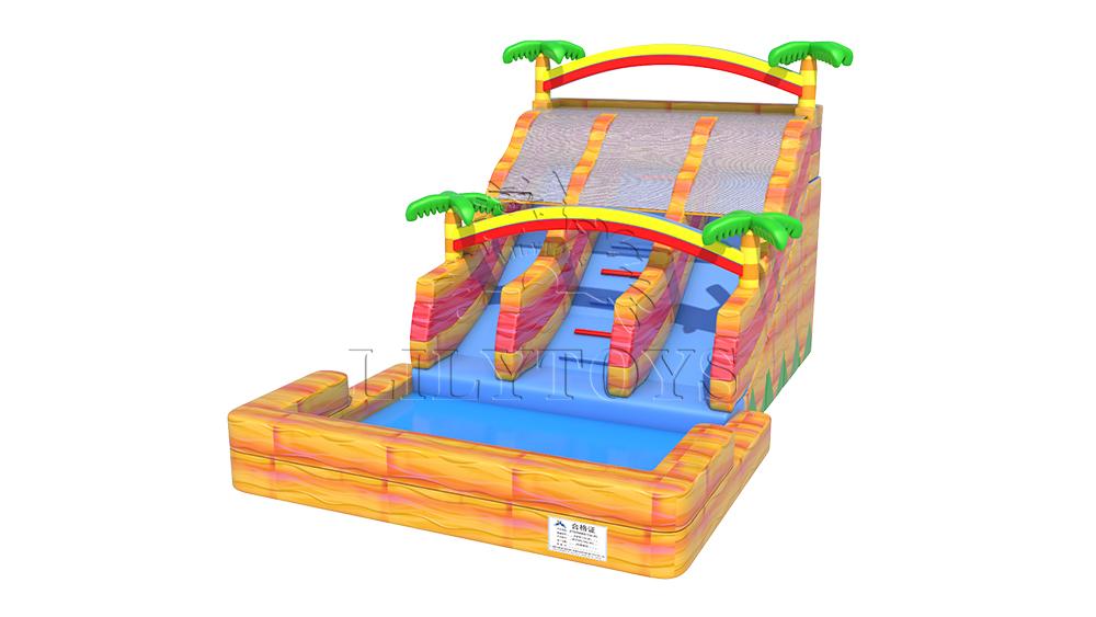 yellow inflatable water slide