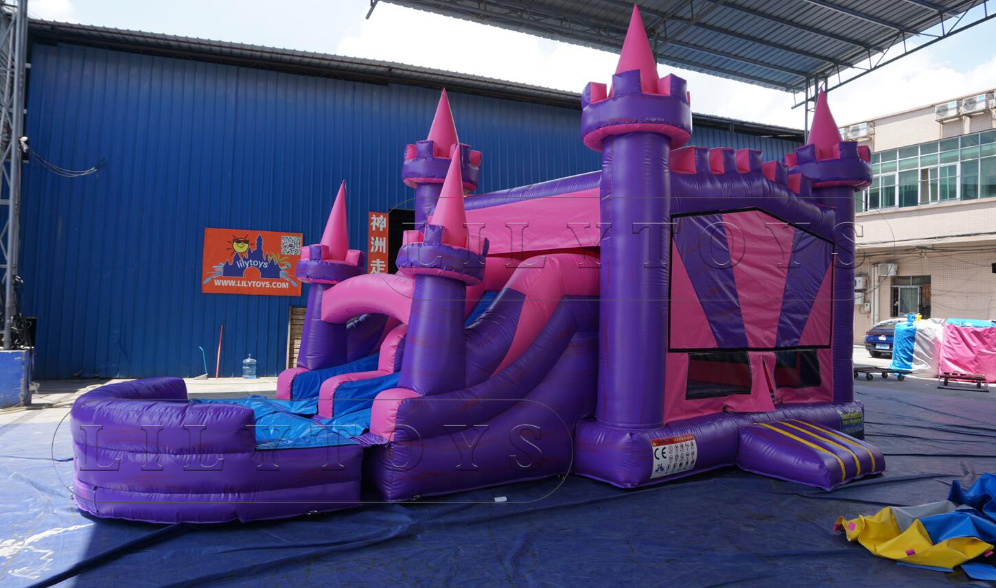 inflatable water slide with bounce combo