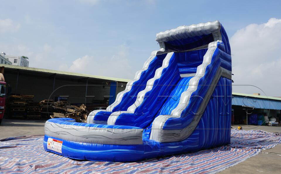 high inflatable blue slide with pool for sale