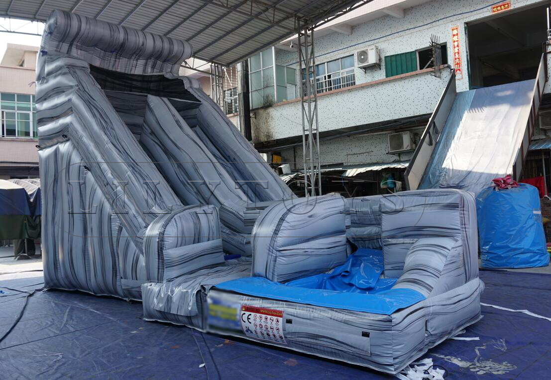 rock water slide with removable pool