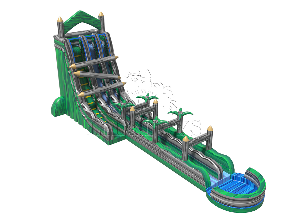wooden forest giant inflatable slide and slip